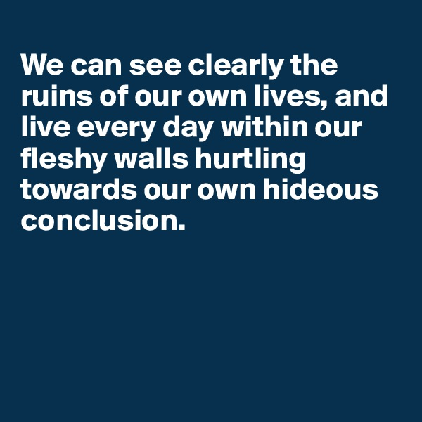 We can see clearly the ruins of our own lives, and live every day within our fleshy walls hurtling towards our own hideous conclusion.