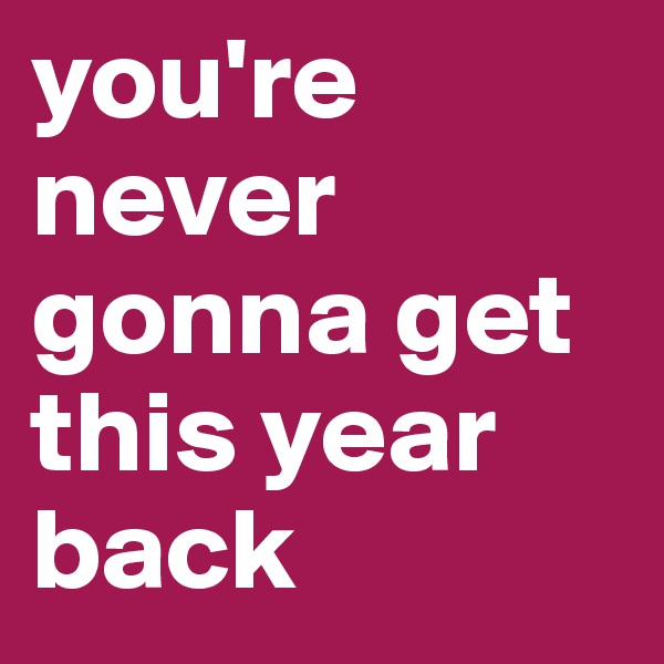 you're never gonna get this year back