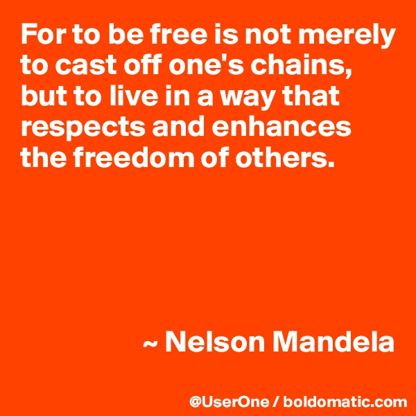 For to be free is not merely to cast off one's chains, but to live in a way that respects and enhances the freedom of others.                           ~ Nelson Mandela