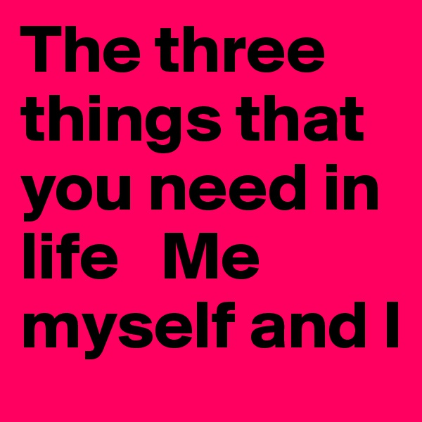 The three things that you need in life   Me myself and I