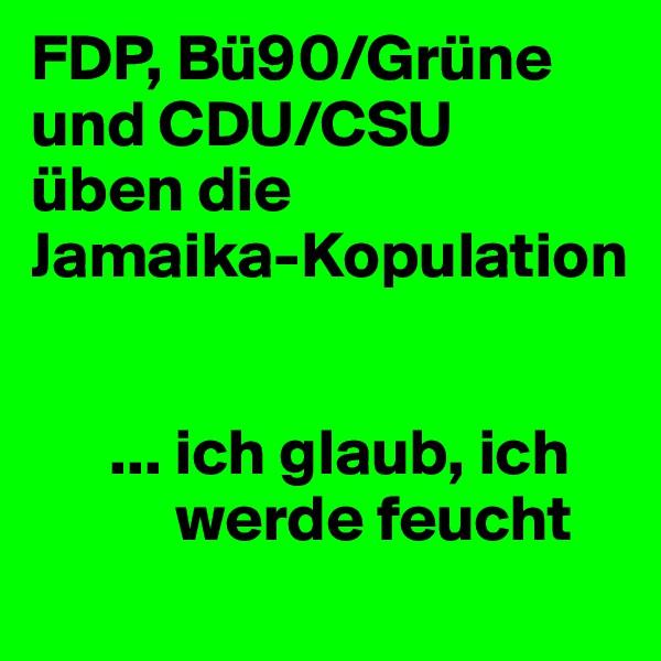 FDP, Bü90/Grüne und CDU/CSU üben die  Jamaika-Kopulation          ... ich glaub, ich             werde feucht