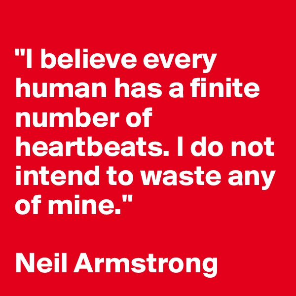 """I believe every human has a finite number of heartbeats. I do not intend to waste any of mine.""   Neil Armstrong"