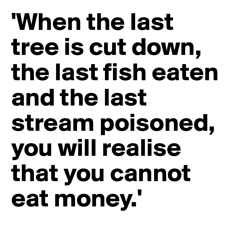 'When the last tree is cut down, the last fish eaten and the last stream poisoned, you will realise that you cannot eat money.'