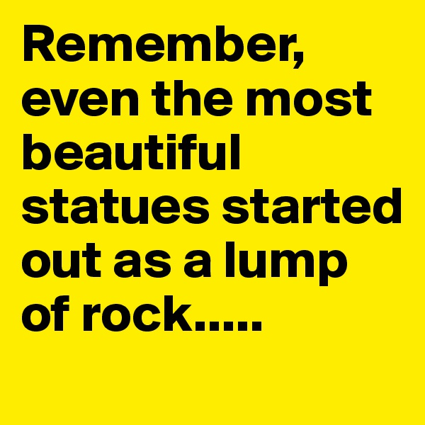 Remember, even the most beautiful statues started out as a lump of rock.....