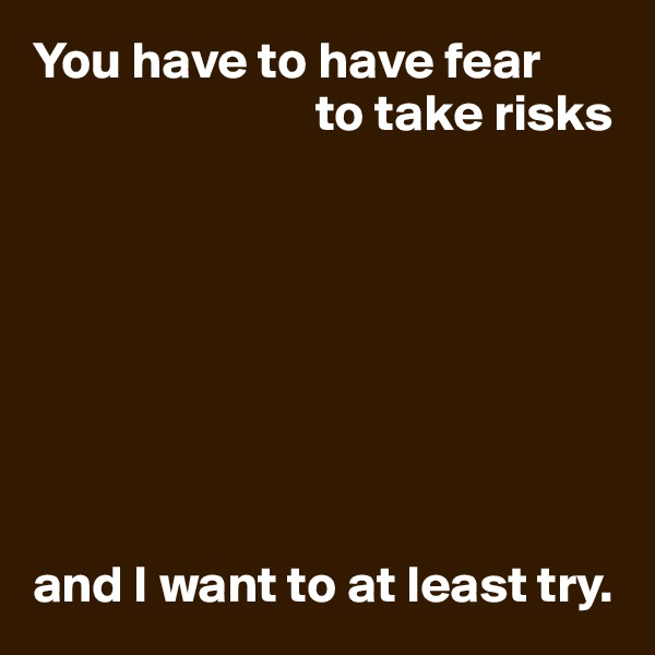 You have to have fear                            to take risks         and I want to at least try.