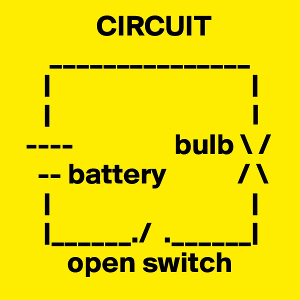 CIRCUIT       _______________      |                                  |      |                                  I   ----                 bulb \ /     -- battery            / \      |                                  |      |______./  .______|          open switch