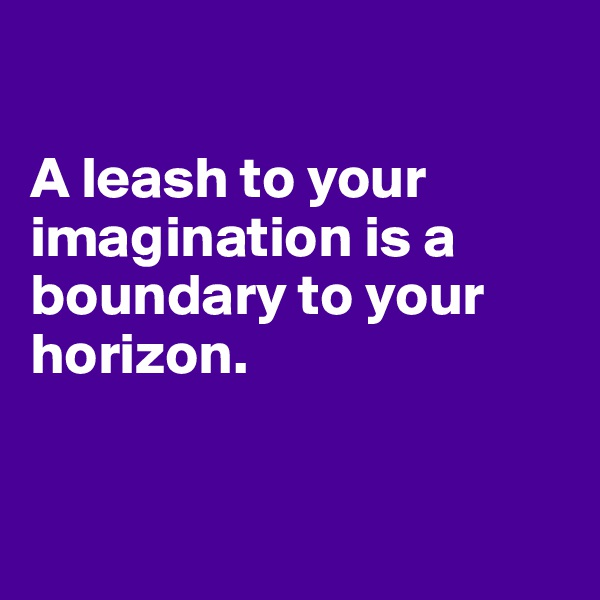A leash to your imagination is a boundary to your horizon.