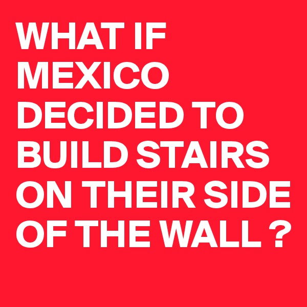 WHAT IF MEXICO DECIDED TO BUILD STAIRS ON THEIR SIDE OF THE WALL ?