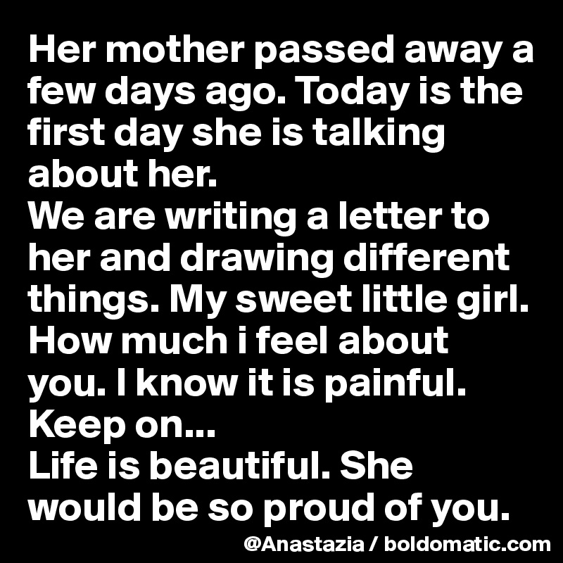 mother passed away letter