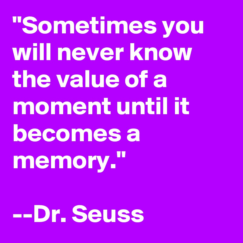 """Sometimes you will never know the value of a moment until it becomes a memory.""  --Dr. Seuss"