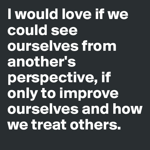 I would love if we could see ourselves from another's perspective, if only to improve ourselves and how we treat others.