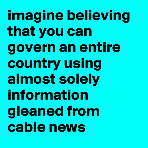 imagine believing that you can govern an entire country using almost solely information gleaned from cable news