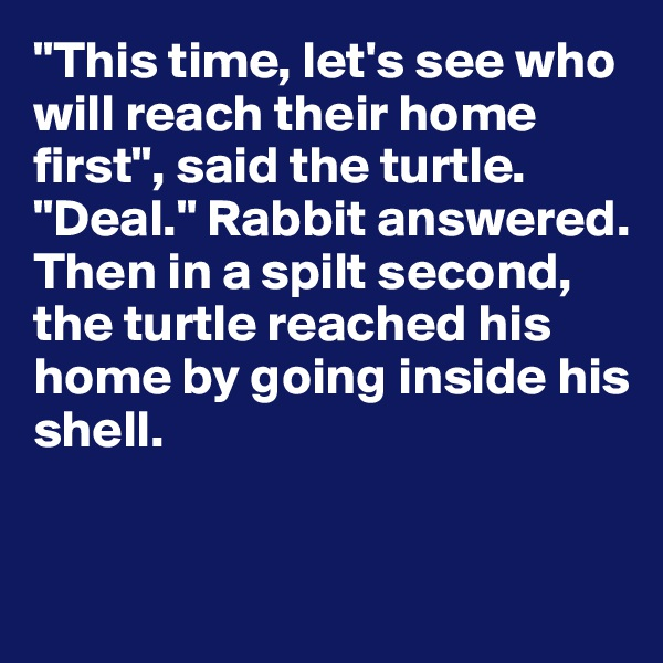 """""""This time, let's see who will reach their home first"""", said the turtle.  """"Deal."""" Rabbit answered. Then in a spilt second, the turtle reached his home by going inside his shell."""