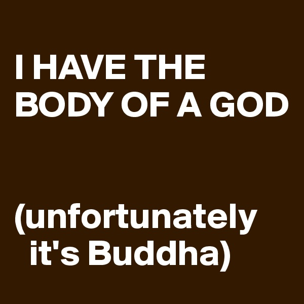 I HAVE THE BODY OF A GOD   (unfortunately     it's Buddha)