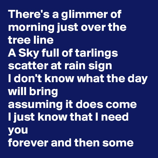 There's a glimmer of morning just over the tree line A Sky full of tarlings scatter at rain sign I don't know what the day will bring assuming it does come I just know that I need you forever and then some