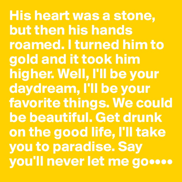 His heart was a stone, but then his hands roamed. I turned him to gold and it took him higher. Well, I'll be your daydream, I'll be your favorite things. We could be beautiful. Get drunk on the good life, I'll take you to paradise. Say you'll never let me go••••