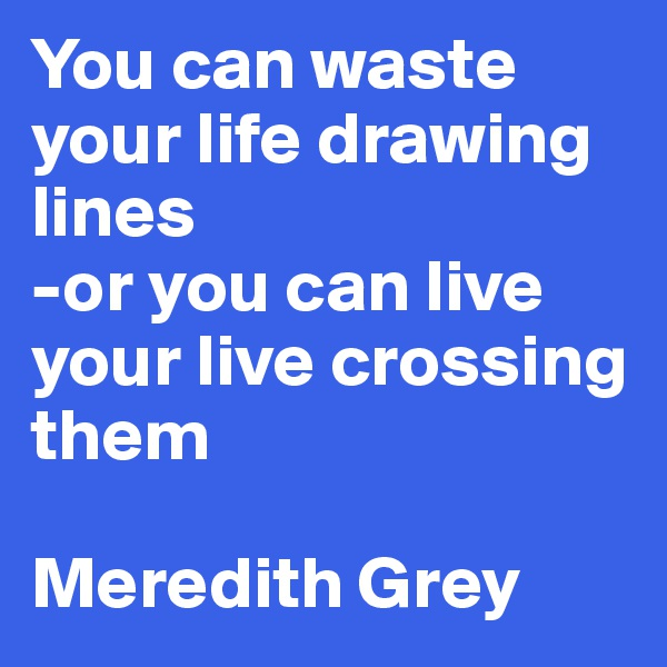 You can waste your life drawing lines -or you can live your live crossing them  Meredith Grey