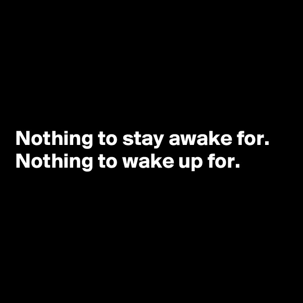 Nothing to stay awake for. Nothing to wake up for.