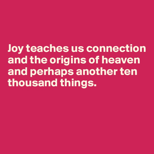 Joy teaches us connection and the origins of heaven and perhaps another ten thousand things.