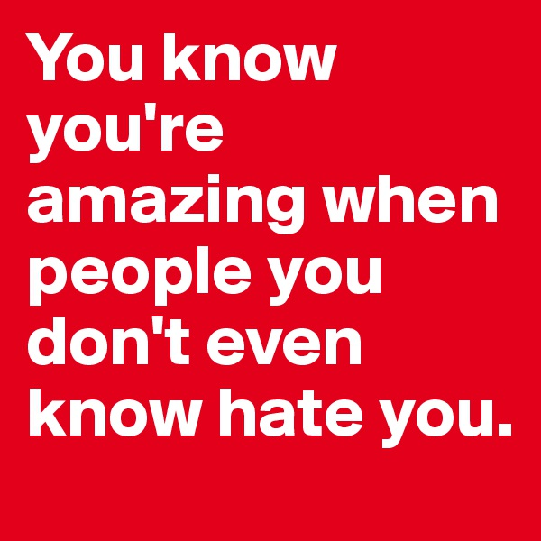 You know you're amazing when people you don't even know hate you.