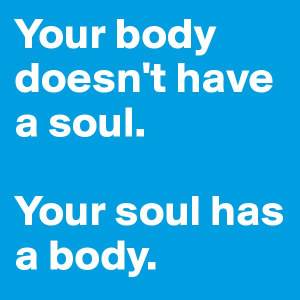 Your body doesn't have a soul.  Your soul has a body.