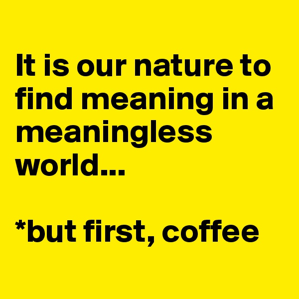 It is our nature to find meaning in a meaningless world...   *but first, coffee