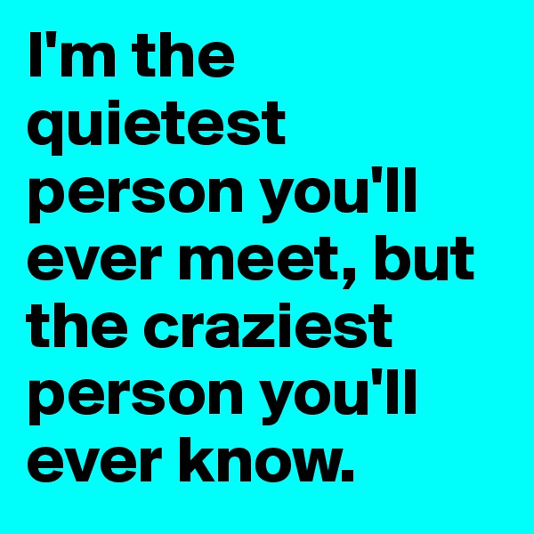 I'm the quietest person you'll ever meet, but the craziest person you'll ever know.