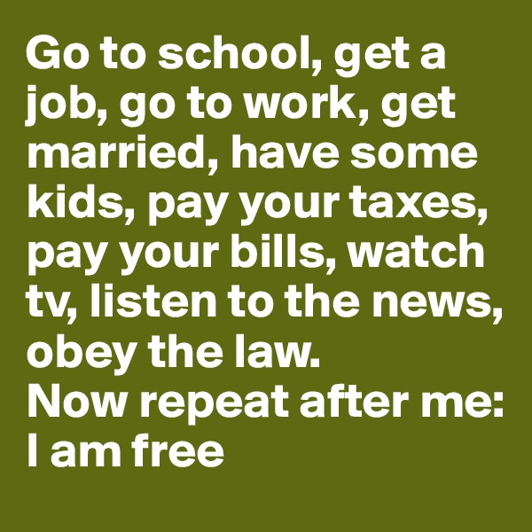 Go to school, get a job, go to work, get married, have some kids, pay your taxes, pay your bills, watch tv, listen to the news, obey the law. Now repeat after me: I am free