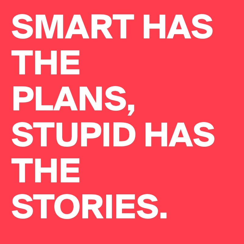SMART HAS THE PLANS, STUPID HAS  THE STORIES.
