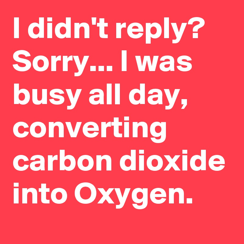 I didn't reply? Sorry... I was busy all day, converting carbon dioxide into Oxygen.