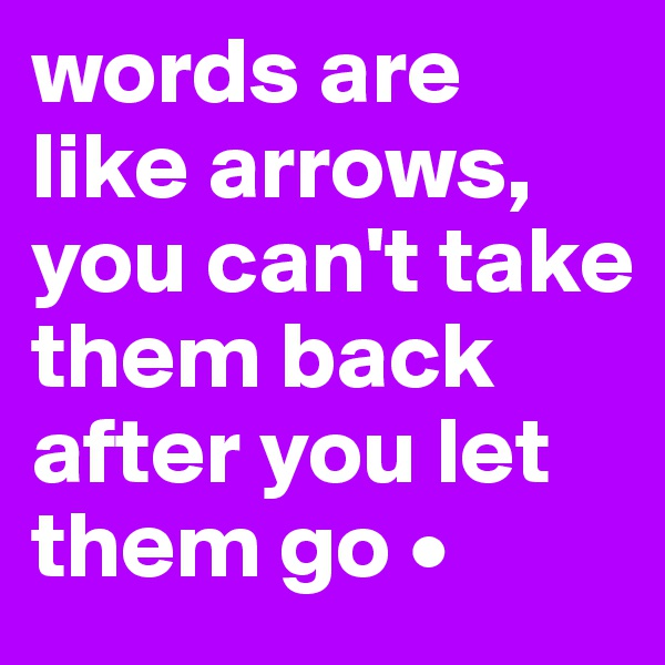 words are like arrows, you can't take them back after you let them go •