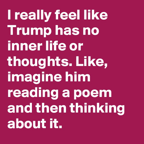 I really feel like Trump has no inner life or thoughts. Like, imagine him reading a poem and then thinking about it.