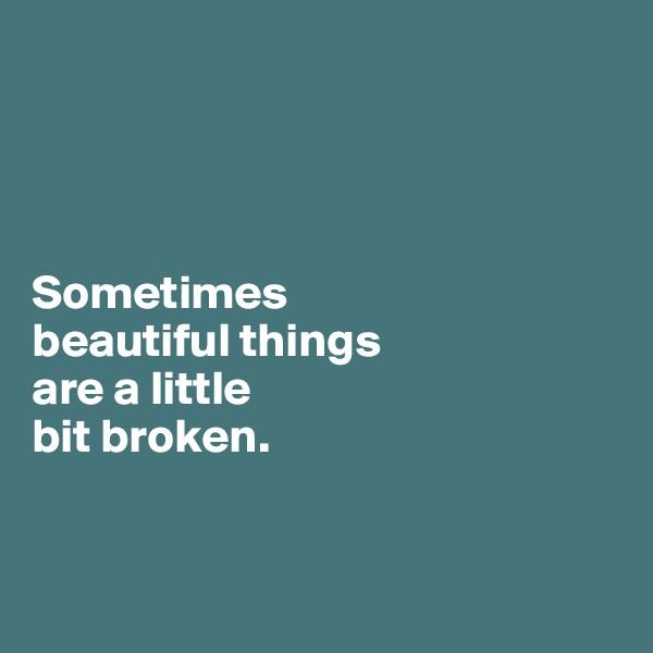 Sometimes  beautiful things  are a little  bit broken.