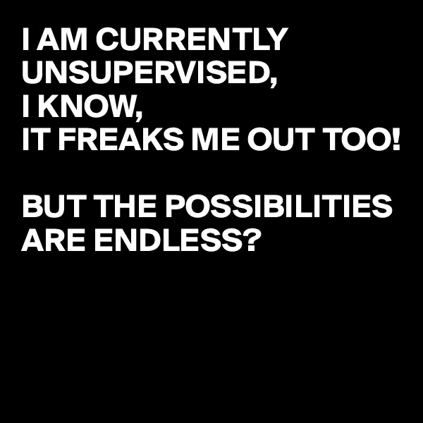 I AM CURRENTLY UNSUPERVISED,  I KNOW, IT FREAKS ME OUT TOO!  BUT THE POSSIBILITIES ARE ENDLESS?