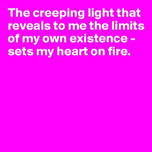The creeping light that reveals to me the limits of my own existence - sets my heart on fire.
