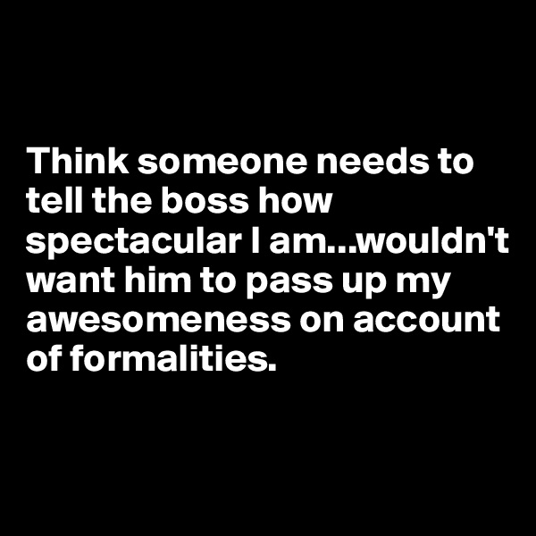 Think someone needs to tell the boss how spectacular I am...wouldn't want him to pass up my awesomeness on account of formalities.