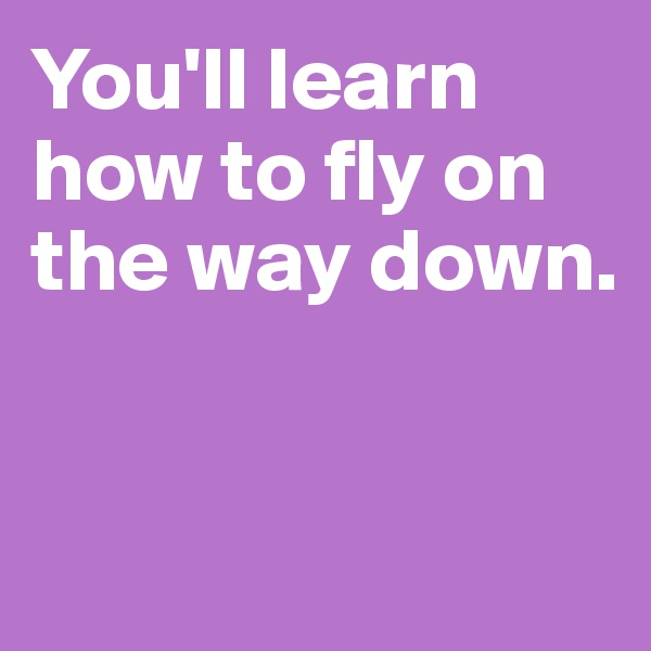 You'll learn how to fly on the way down.