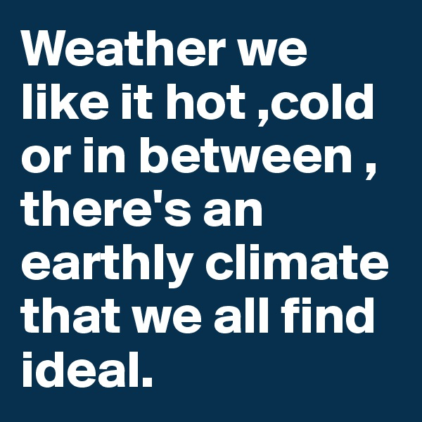 Weather we like it hot ,cold or in between , there's an earthly climate that we all find ideal.