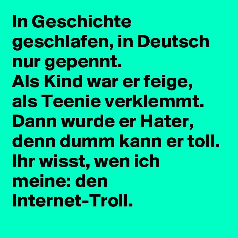 In Geschichte geschlafen, in Deutsch nur gepennt. Als Kind war er feige, als Teenie verklemmt. Dann wurde er Hater, denn dumm kann er toll. Ihr wisst, wen ich meine: den Internet-Troll.