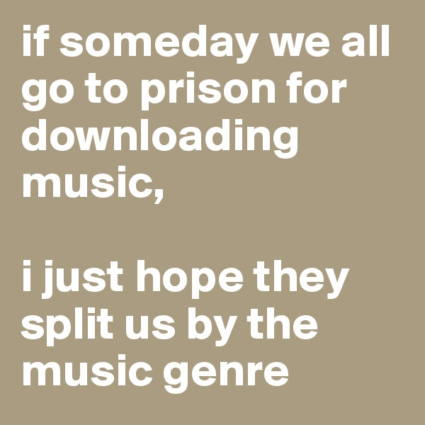 if someday we all go to prison for downloading music,   i just hope they split us by the music genre