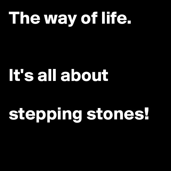 The way of life.   It's all about   stepping stones!