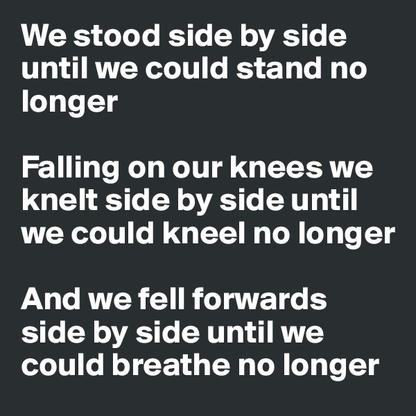 We stood side by side  until we could stand no longer  Falling on our knees we knelt side by side until we could kneel no longer  And we fell forwards side by side until we could breathe no longer