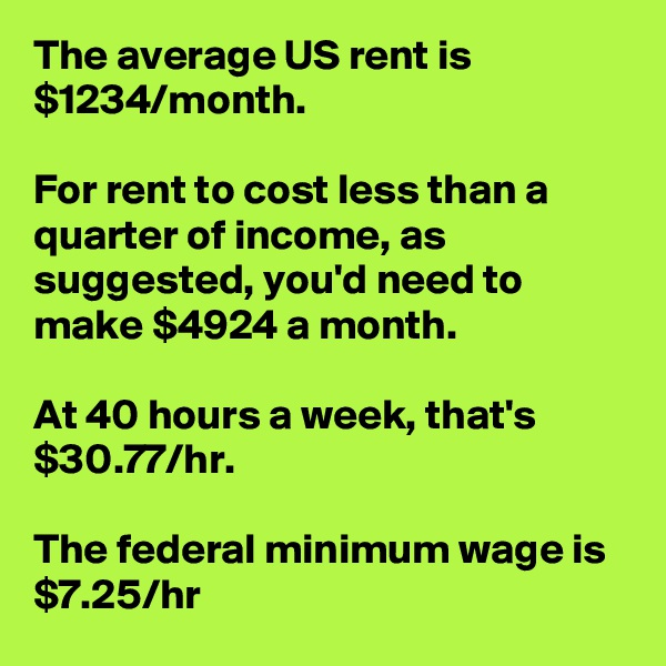 The average US rent is $1234/month.  For rent to cost less than a quarter of income, as suggested, you'd need to make $4924 a month.  At 40 hours a week, that's $30.77/hr.  The federal minimum wage is $7.25/hr