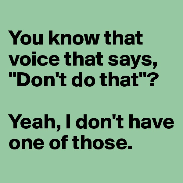 """You know that voice that says, """"Don't do that""""?  Yeah, I don't have one of those."""