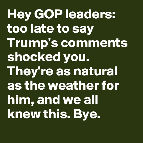 Hey GOP leaders: too late to say Trump's comments shocked you. They're as natural as the weather for him, and we all knew this. Bye.