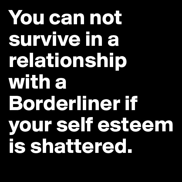 You can not survive in a relationship with a Borderliner if your self esteem is shattered.