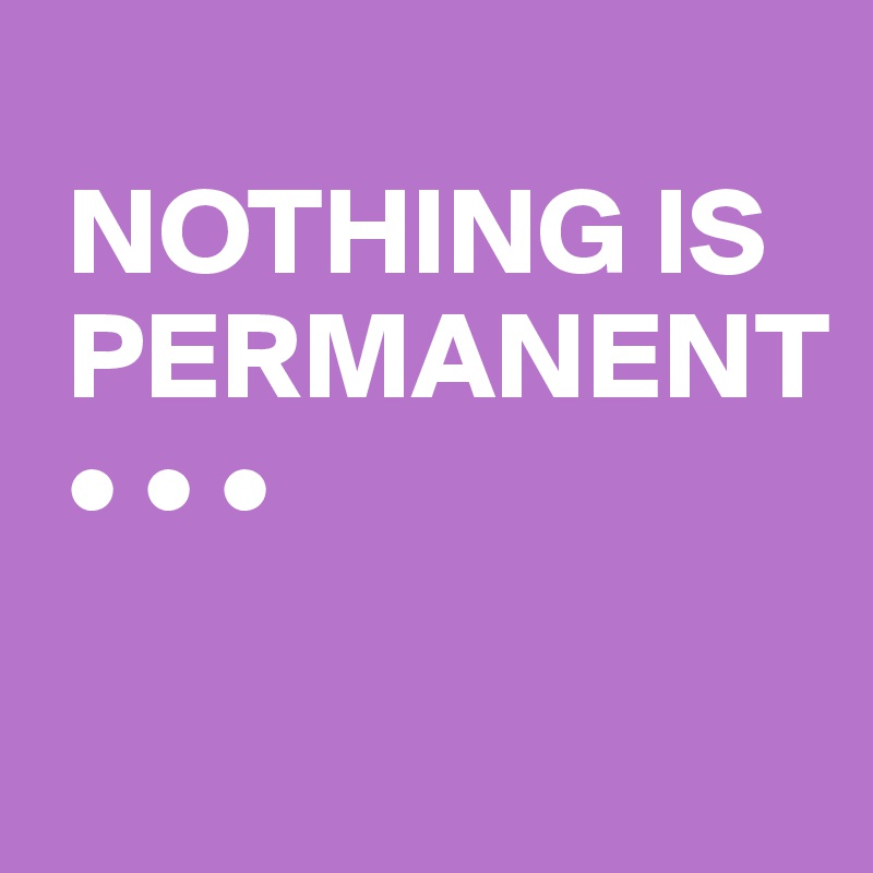 NOTHING IS  PERMANENT  • • •