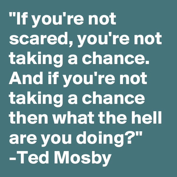 """""""If you're not scared, you're not taking a chance. And if you're not taking a chance then what the hell are you doing?"""" -Ted Mosby"""