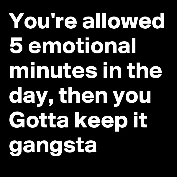 You're allowed 5 emotional minutes in the day, then you Gotta keep it gangsta