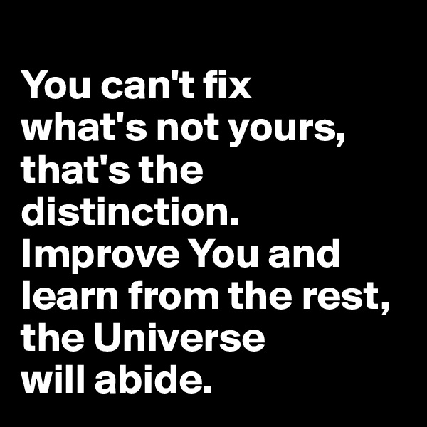 You can't fix  what's not yours, that's the distinction. Improve You and learn from the rest, the Universe  will abide.